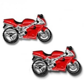 Red Motorbike Novelty Cufflinks
