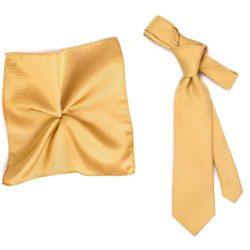 Plain Beige Silk Tie & Pocket Square Handkerchief Set by Tresanti