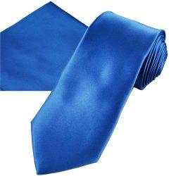 Plain Cobalt Blue Wedding Tie Pocket Square Set
