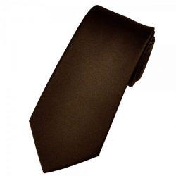Plain Chocolate Brown Mens Satin Tie