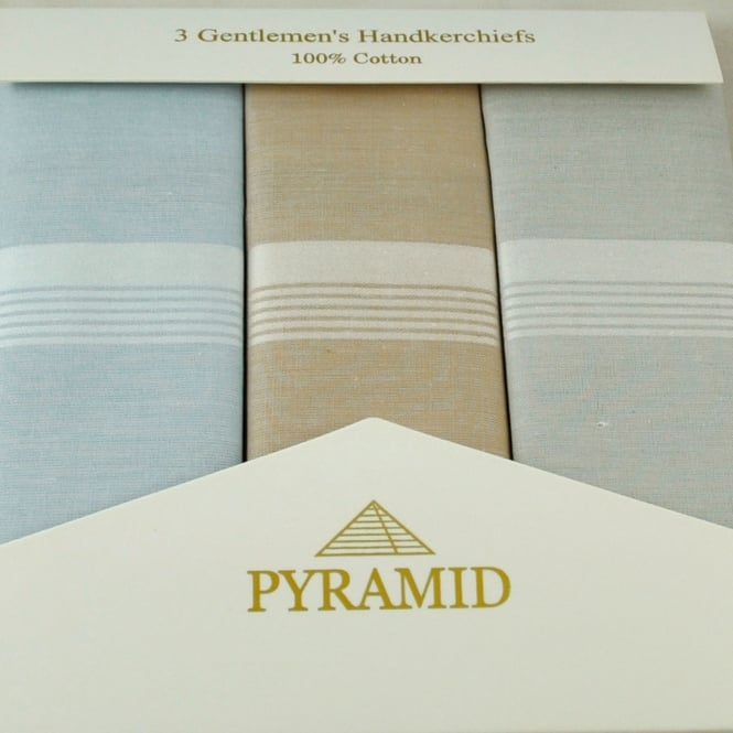 100% Cotton Men's Handkerchief 3-Pack - Light Blue, Beige, Light Grey & White Stripes