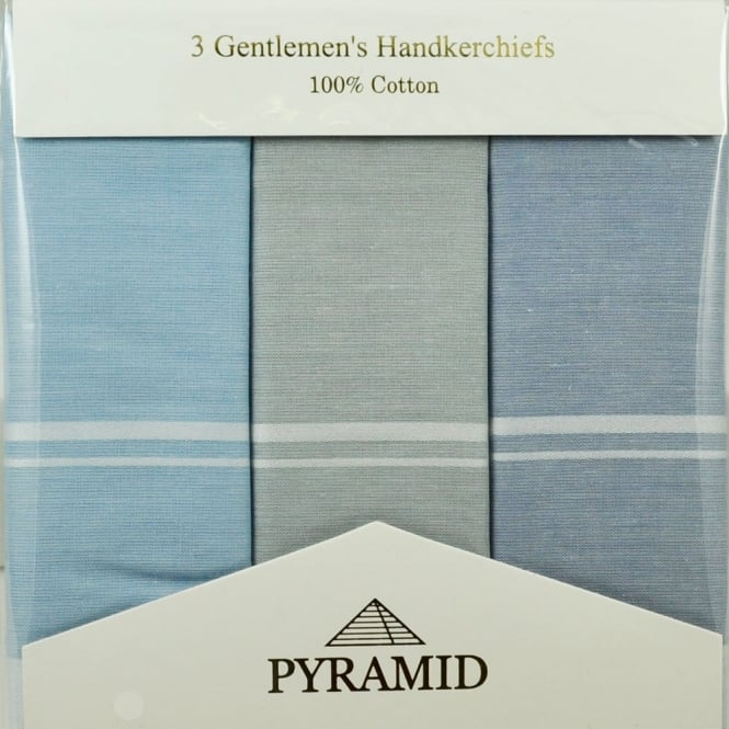 100% Cotton Men's Handkerchief 3-Pack - Navy, Grey, Light Blue & White Stripes