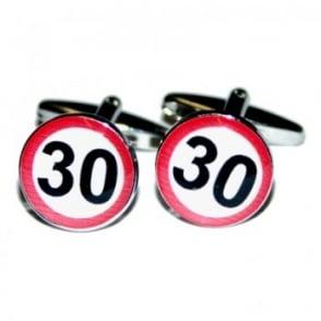 30 MPH Speed Sign Cufflinks