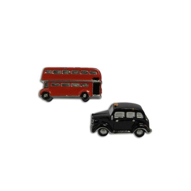 3D Black Cab & Red Bus Cufflinks