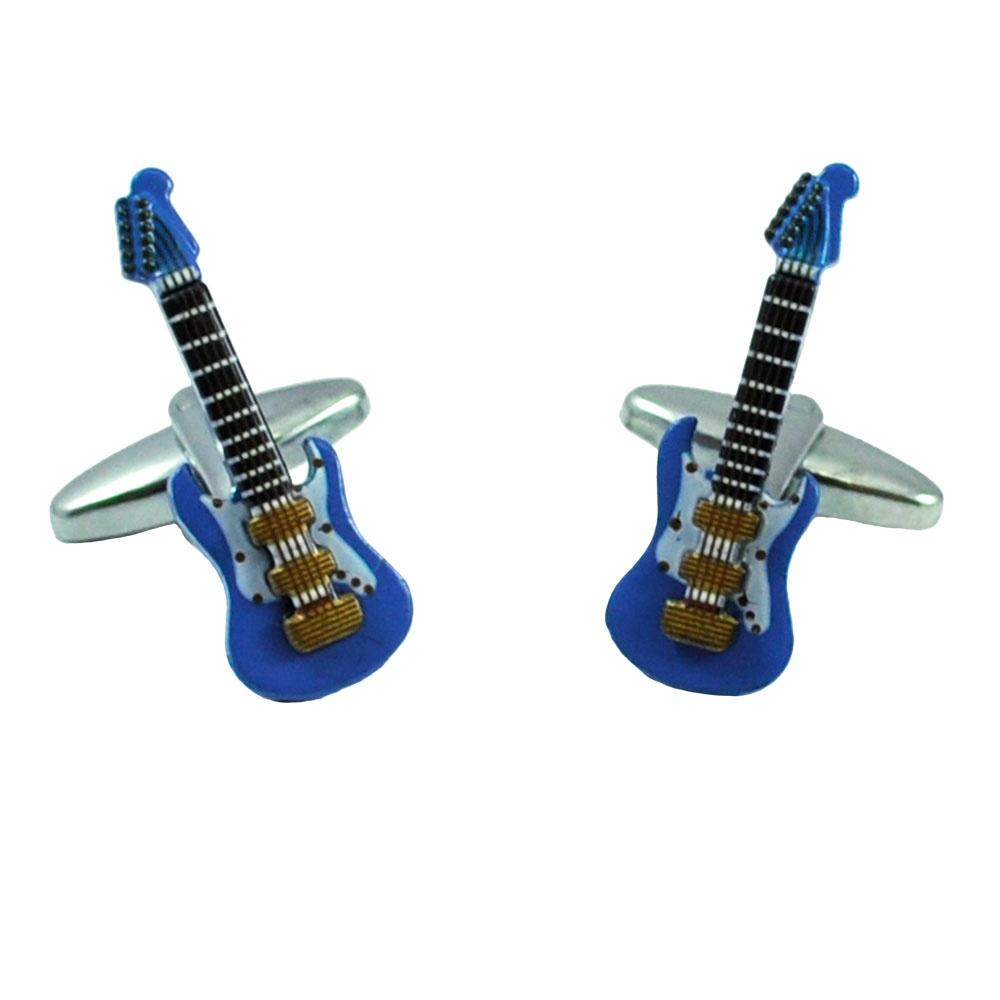 3d blue electric guitar novelty cufflinks from ties planet uk. Black Bedroom Furniture Sets. Home Design Ideas