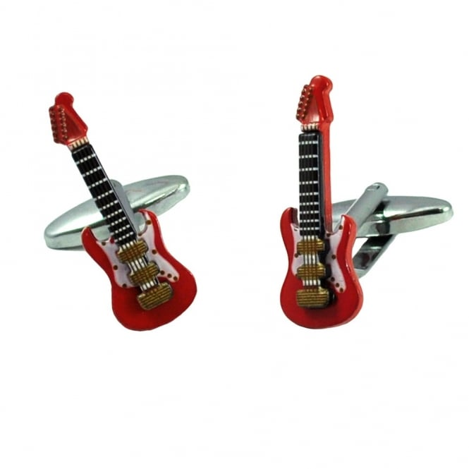 3d red electric guitar novelty cufflinks from ties planet uk. Black Bedroom Furniture Sets. Home Design Ideas