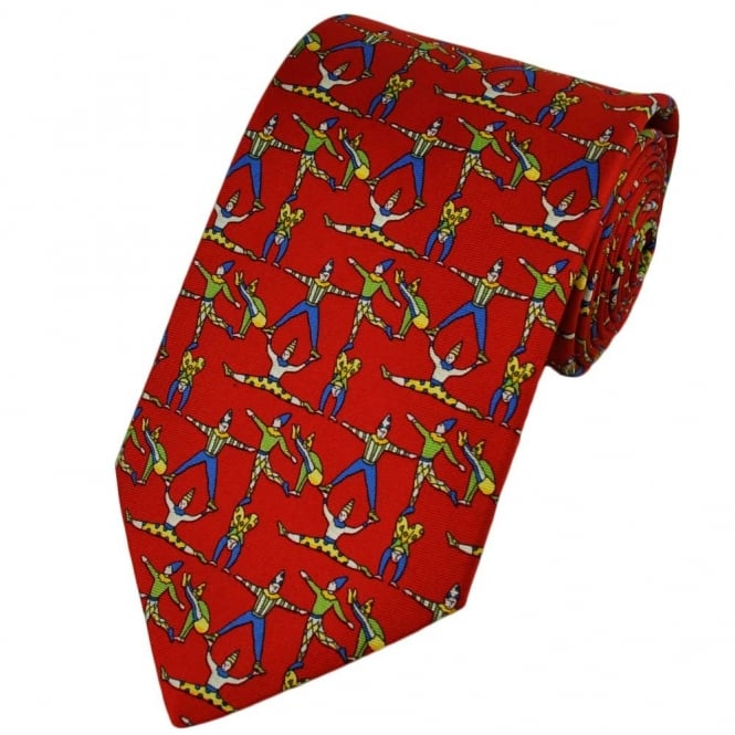 Acrobats Red Silk Novelty Tie