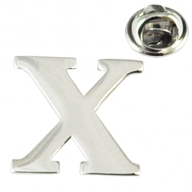 Alphabet Letter X Lapel Pin Badge