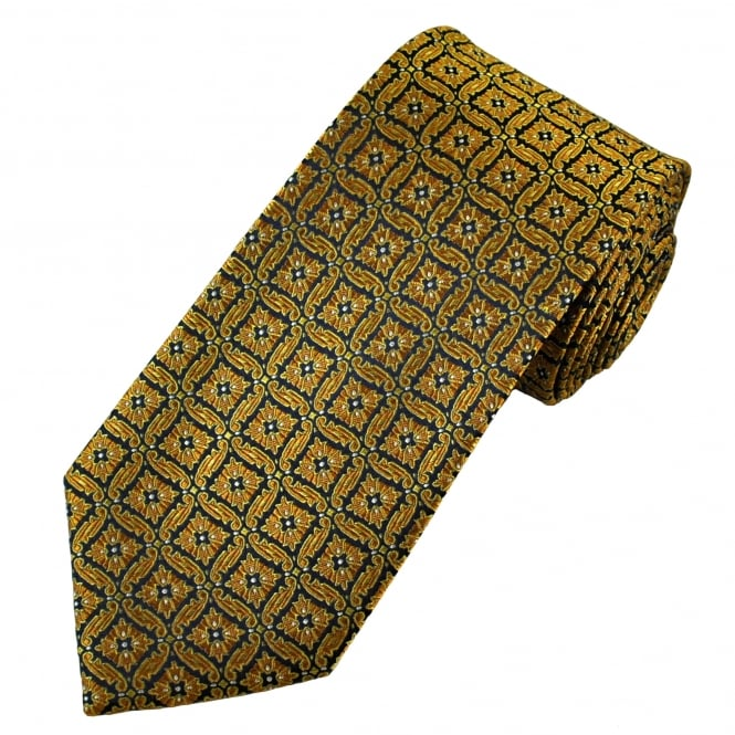 Amanda Christensen Navy Blue & Gold Patterned Silk Designer Tie