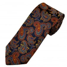 Amanda Christensen Navy Blue, Royal Blue, Red & Gold Paisley Patterned Silk Designer Tie