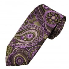 Amanda Christensen Pink, Brown & Beige Paisley Patterned Silk Designer Tie