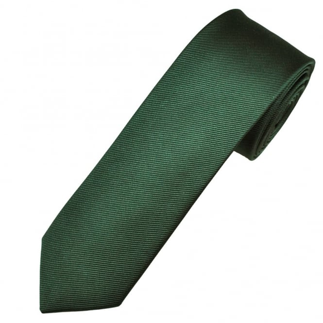 Amanda Christensen Plain Bottle Green Silk Designer Skinny Tie