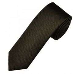 Amanda Christensen Plain Brown Silk Designer Skinny Tie