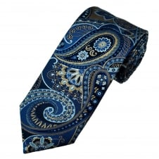 Amanda Christensen Shades Of Blue & Beige Paisley Patterned Silk Designer Tie