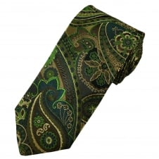 Amanda Christensen Shades Of Green, Brown & Beige Paisley Patterned Silk Designer Tie