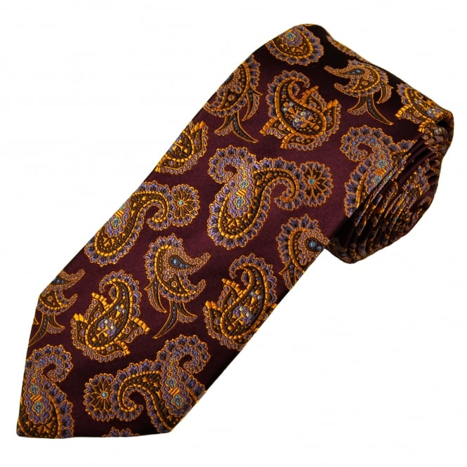 Amanda Christensen Wine Red, Gold, Brown, Lilac & Blue Paisley Patterned Silk Designer Tie