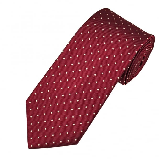 Amanda Christensen Wine Red & White Polka Dot Silk Designer Tie