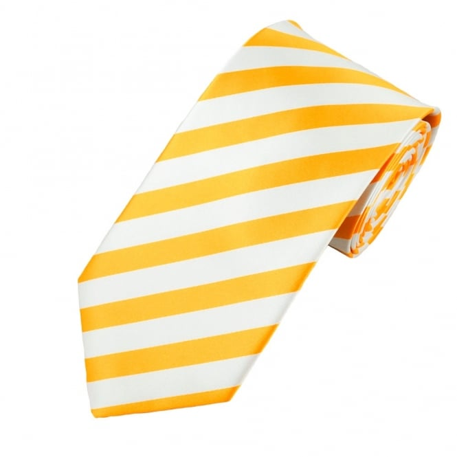 Amber Yellow & White Striped Men's Tie