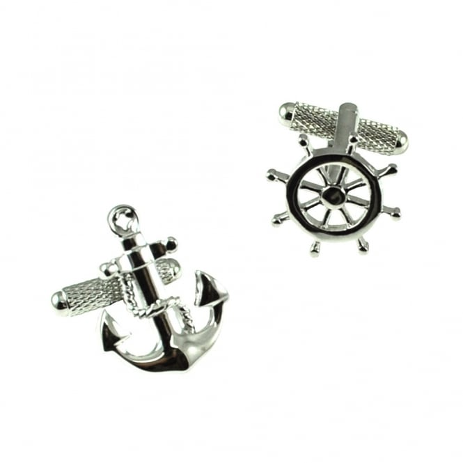 Anchor & Ship Wheel Novelty Cufflinks