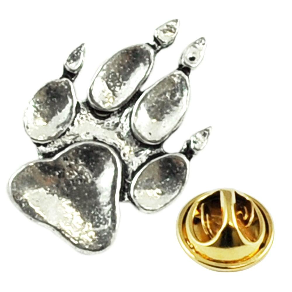 Charming Animal Paw Print Pewter Lapel Pin Badge
