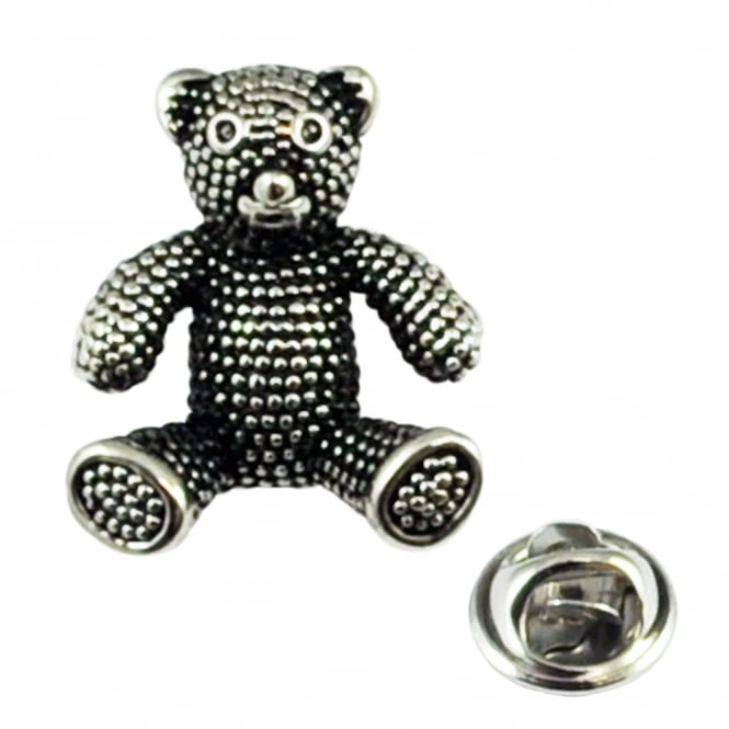 Antique Finish Teddy Bear Lapel Pin Badge