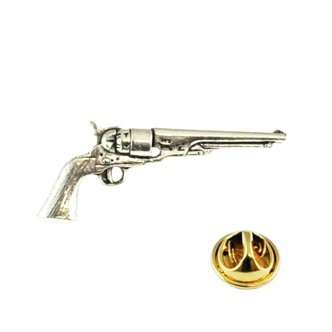 Antique Revolver Pistol Pewter Lapel Pin Badge