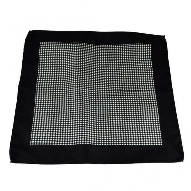 Antonio Boselli Black & White Checked Pocket Square Handkerchief