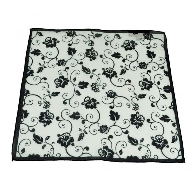Antonio Boselli Black & White Floral Patterned Pocket Square Handkerchief