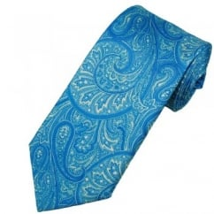 Antonio Boselli Blue Paisley Patterned Silk Designer Tie