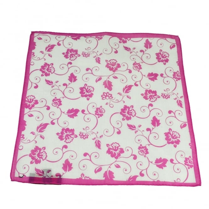 Antonio Boselli Fuchsia Pink & White Floral Patterned Pocket Square Handkerchief