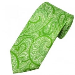 Antonio Boselli Green Paisley Patterned Silk Designer Tie
