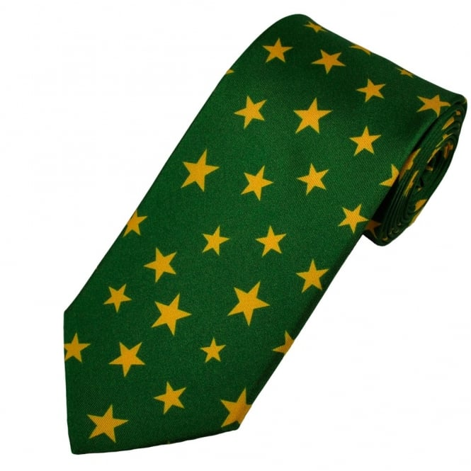 Antonio Boselli Green & Yellow Star Patterned Silk Designer Tie
