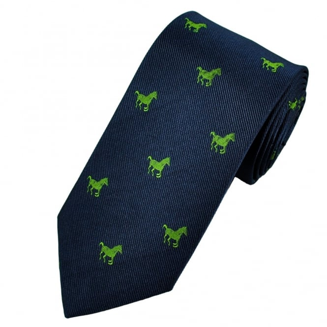 Antonio Boselli Navy Blue & Green Horse Themed Silk Designer Tie