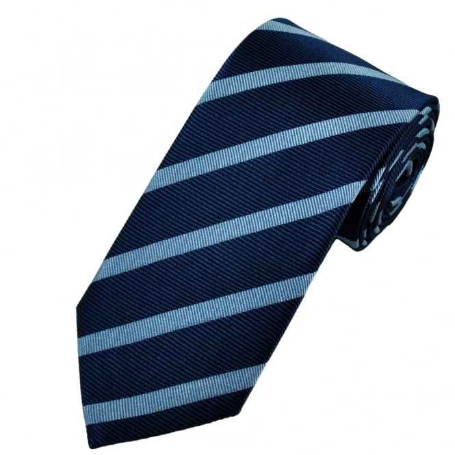 Antonio Boselli Navy Blue & Light Blue Striped Silk Designer Tie