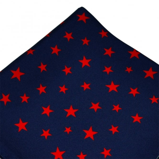 Antonio Boselli Navy Blue & Red Star Patterned Pocket Square Handkerchief