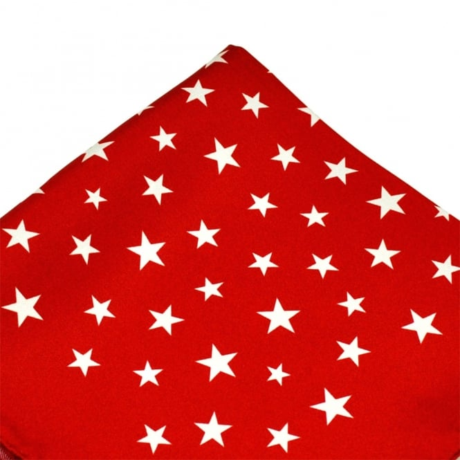 Antonio Boselli Red & White Star Patterned Pocket Square Handkerchief