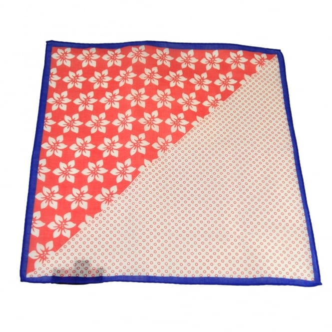 Antonio Boselli Royal Blue, Coral & White Spots & Flowers 2-Way Pocket Square Handkerchief