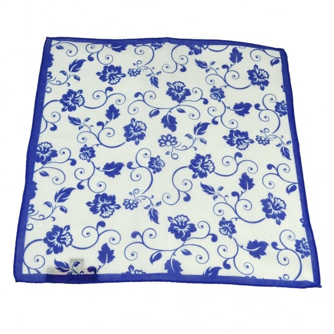 Antonio Boselli Royal Blue & White Floral Patterned Pocket Square Handkerchief