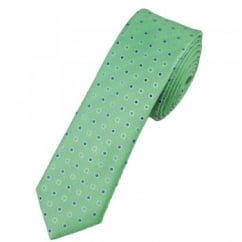 Apple Green & Shades of Blue Spot Patterned Skinny Tie