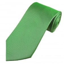 Apple Green & Silver White Micro Woven Patterned Men's Silk Tie