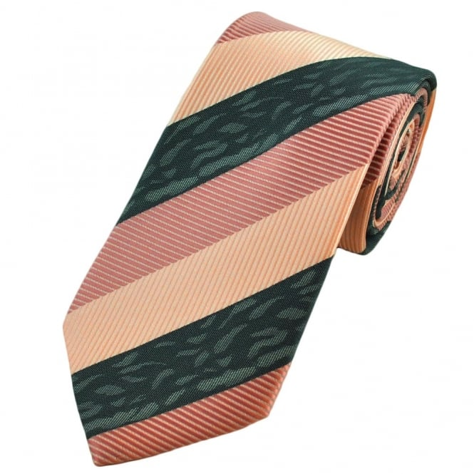 Apricot Pink, Peach Pink & Grey Striped Boys Tie