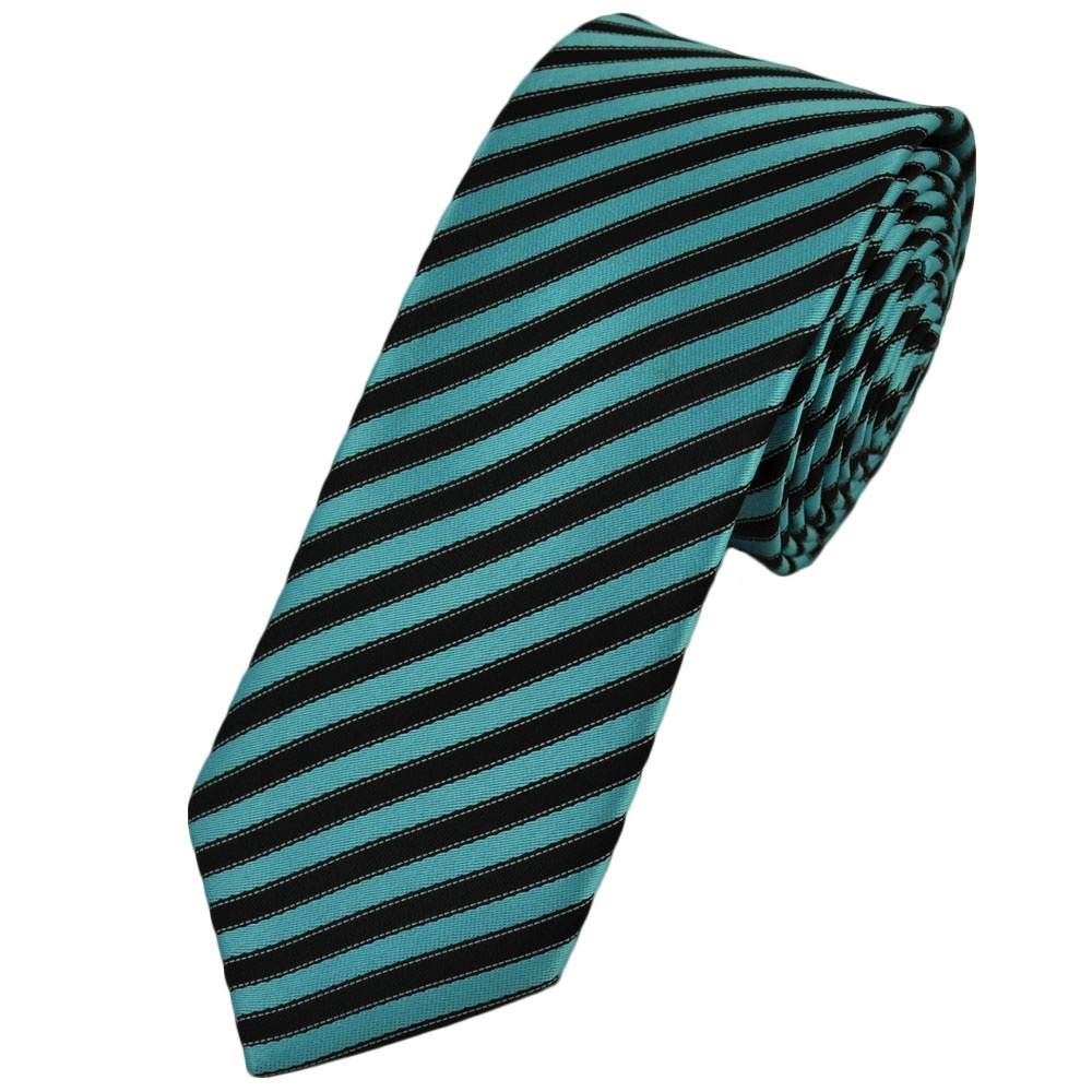 aqua blue black white striped tie from ties
