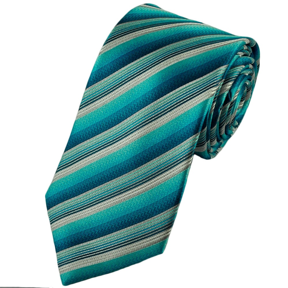 aqua blue teal silver striped silk tie from ties planet uk