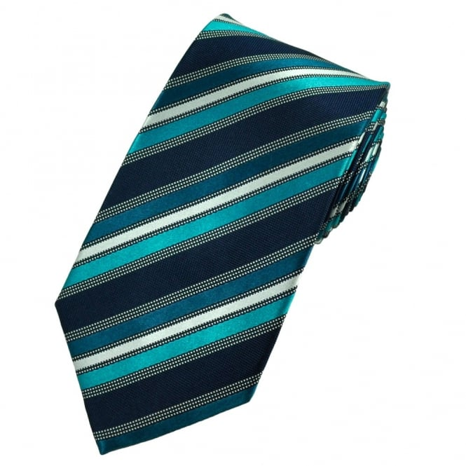 Aqua, Jade, Navy Blue & Silver Striped Patterned Silk Tie
