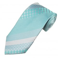 Aqua, Silver & White Spots & Circles Patterned Men's Silk Tie