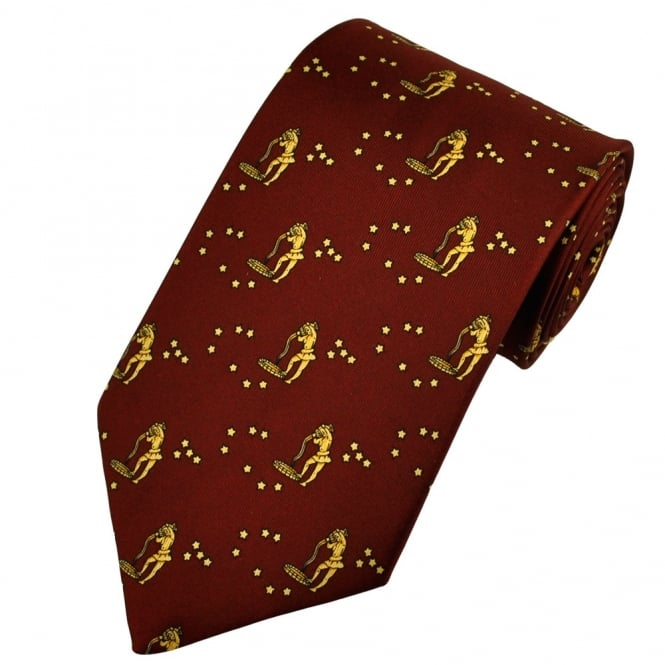 Aquarius Horoscope Star Sign Red Silk Novelty Tie