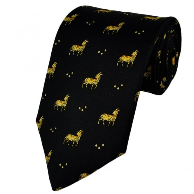 Aries Horoscope Star Sign Black Silk Novelty Tie