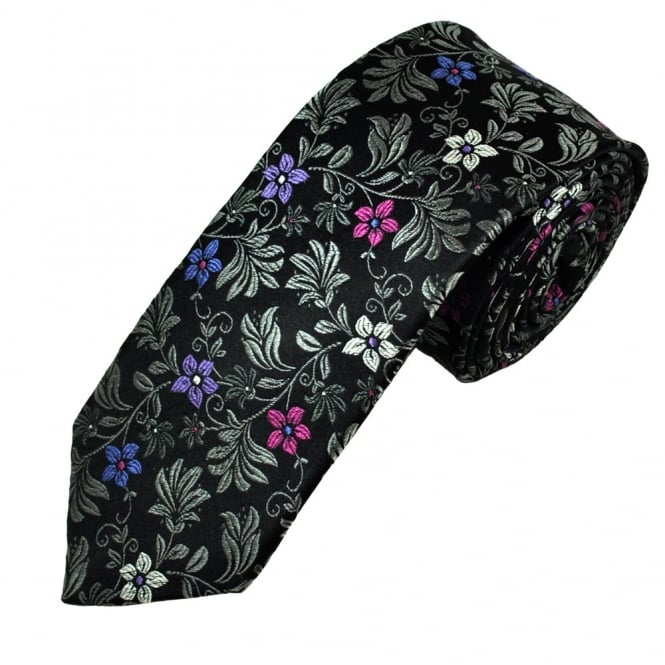 Ascot Black & Silver Floral Patterned Silk Men's Designer Tie