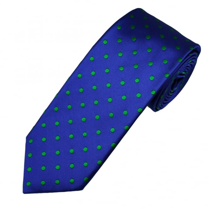 Ascot Blue & Green Polka Dot Silk Men's Designer Tie