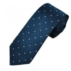 Ascot Dark Blue & White Polka Dot Silk Men's Designer Tie